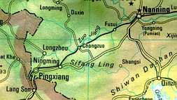 Map shows position of Pingxiang.